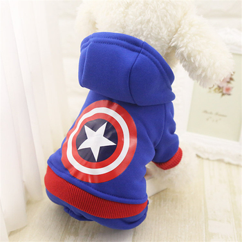 Four-legged Sweatshirt Dog Cloth Puppy Pet Dog Vest for Small Dog Blue Hairy Little Yellow Man Captain America Dog Tshirt