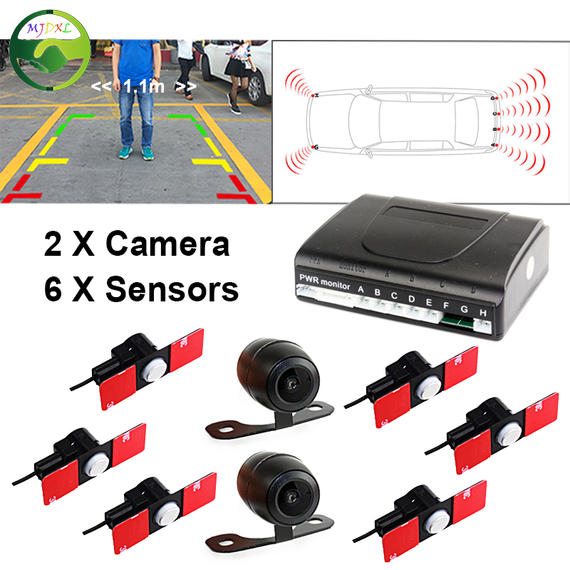 Dual Channel Video Car 6 PCS 13mm Flat Parking Sensors Reverse Backup Radar System With Front View Camera and Rear view Camera