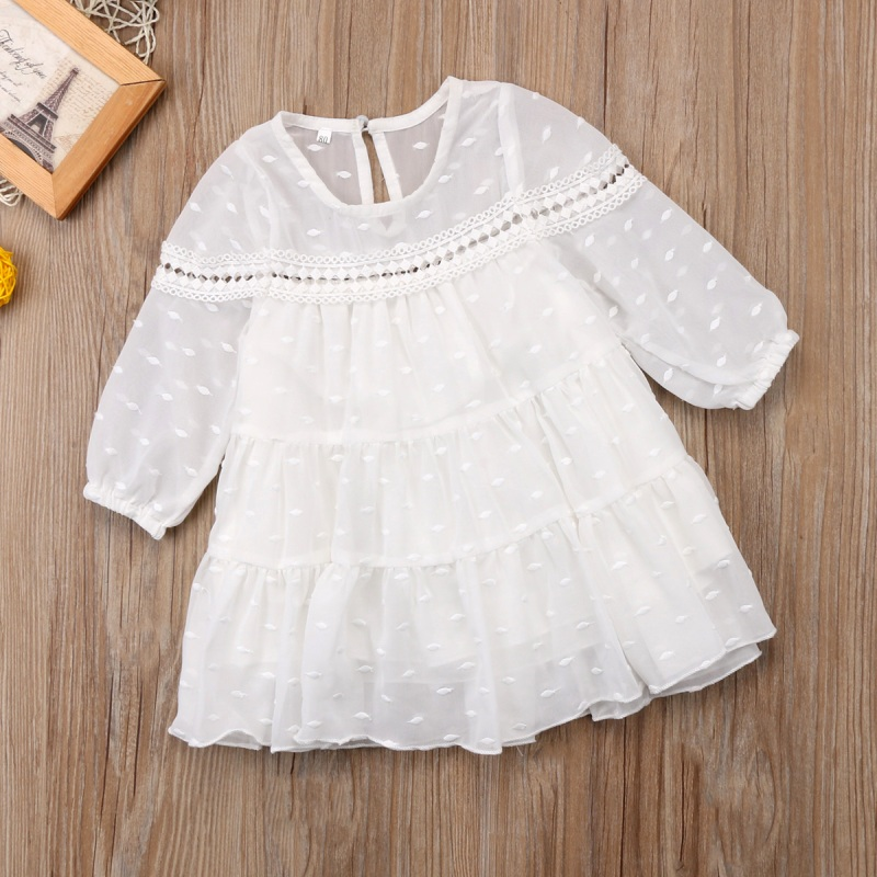 Fashion Summer Toddler Kids Baby Girl Princess O-neck Dress Tulle Long Sleeve Dot Dress Party Formal Dresses