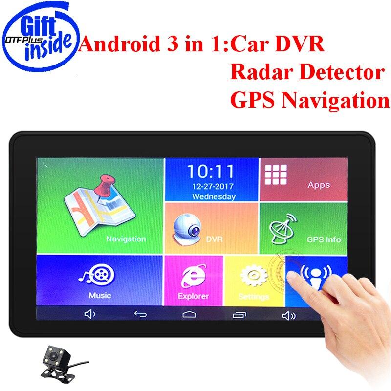 Dash cam voiture caméra 3 en 1 voiture DVR caméra Anti Radar détecteur 7 pouces grand Angle double lentille GPS Navigation Android carte cadeau gratuit