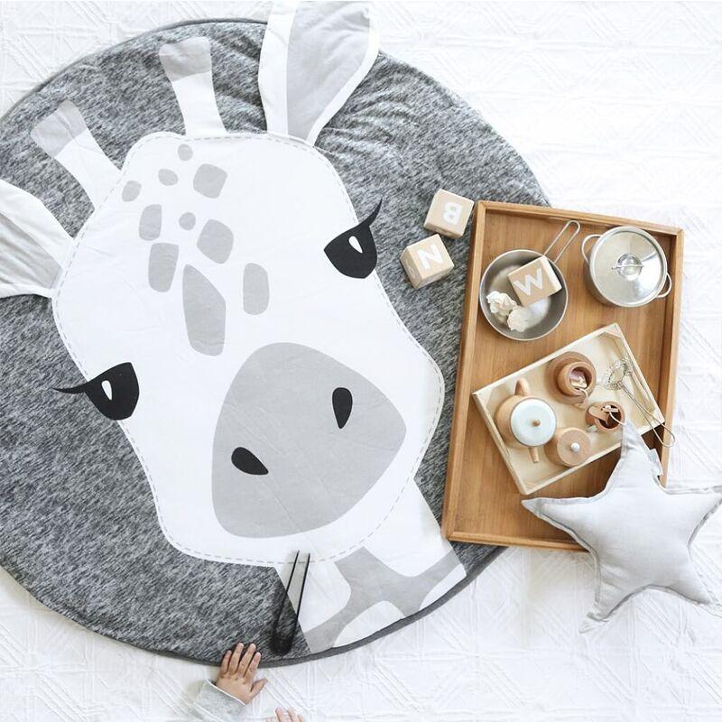 Enfants jouer jeu tapis tapis rond tapis tapis coton girafe ramper couverture tapis de sol pour enfants chambre décoration bébé cadeaux 90 cm