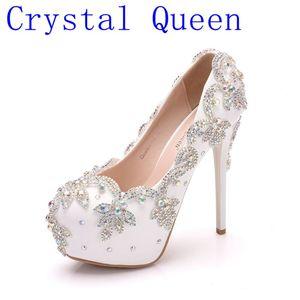 Image 1 - クリスタル女王の結婚式の靴の花嫁のかかとクリスタルパンプス日イブニングパーティー高級 14 センチメートル平方ヒールプラスサイズ白青 ABcolor