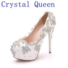 Crystal Queen Wedding Shoes Bride Heels Crystal Pumps Day Evening Party Luxury 14cm Square Heel Plus Size White Blue ABcolor