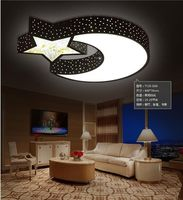 A1 Ceiling Lamp Creative Warm Stars Moon Boys And Girls Bedroom LED Ceiling Romantic Crystal Remote
