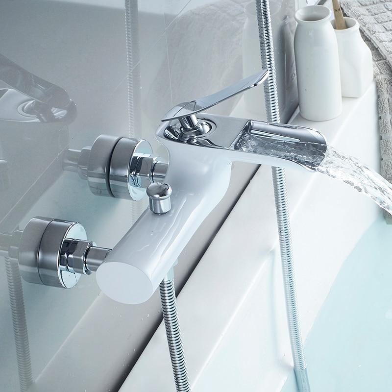 Badewanne Armaturen Chrome Bad Dusche Set Weiß Dusche Set Badewanne Mischbatterie Dual Contral Dusche Wand Montiert Für Bad WF-6018