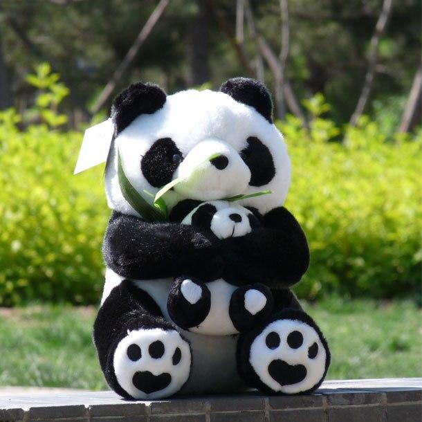 Плюша 35 см сидя представляют бамбук панда обнял детеныш панды плюшевые игрушки Прекрасный Panda Мягкая кукла подарок w2357