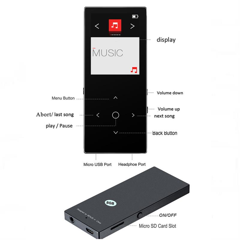 New Version BENJIE K8 Touch Key Bluetooth mp3 player HiFi Sound Ultra thin 8GB MP3 Music Player 50 Hours Playback with FM Radio