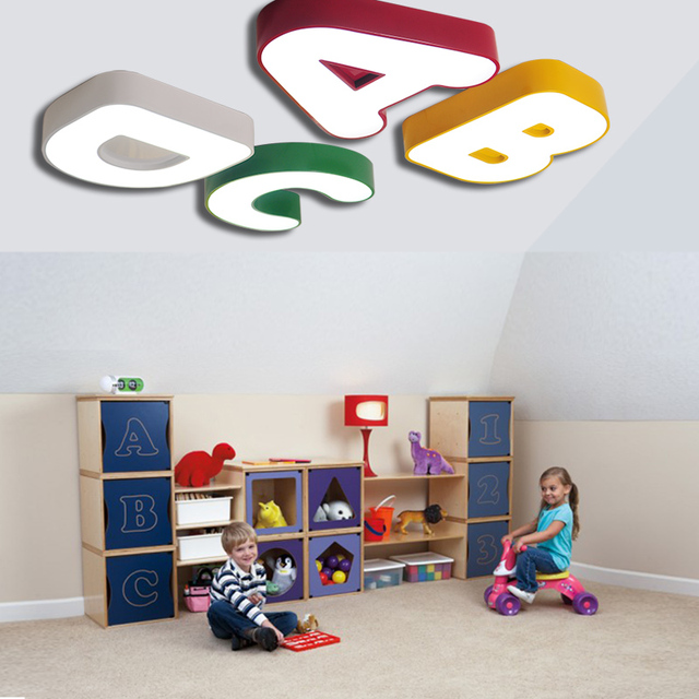 Children Lamp Cute Alphabet Ceiling Lights Childrens Room Boy Bedroom Warm Nursery Top Et85