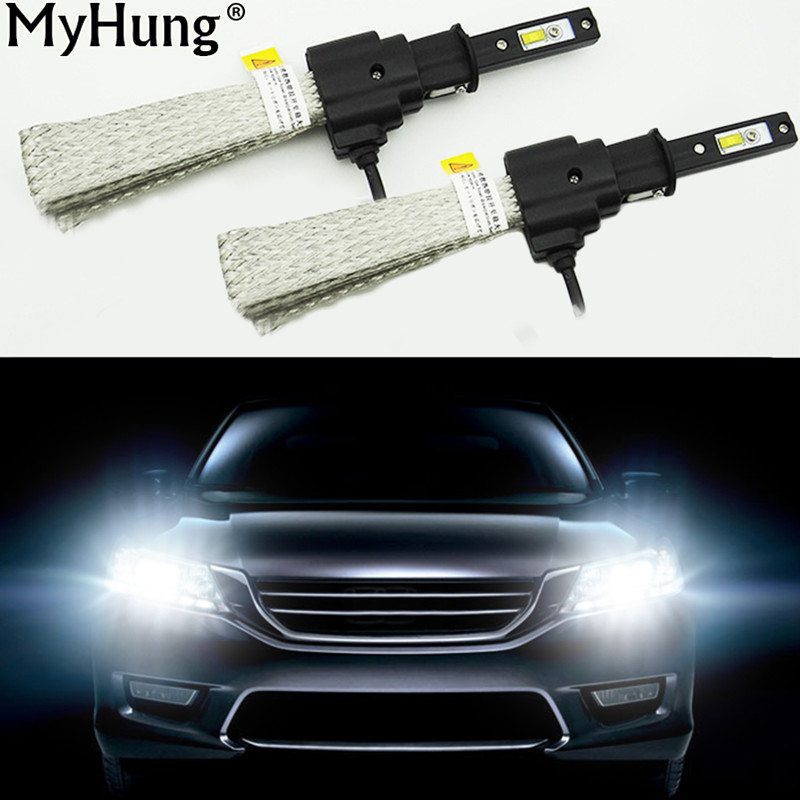 Car LED H3 Bulb Cool White Car Replacement Headlight Fog Light Daytime Running Lamp DRL 60W 6400LM 6000K 1Pair Auto Accessories 1 pair h3 headlight driving bulb daytime running light head light lamp car stying led car headlamp white auto fog lamp drl