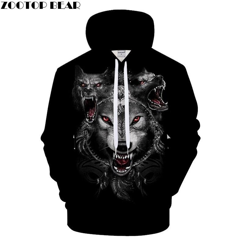 Animal Hoodies Howling Wolf Hoody Men Sweatshirts Funny Pullover 3d 6XL Tracksuit Autumn Clothing Streatwear DropShip ZOOTOPBEAR