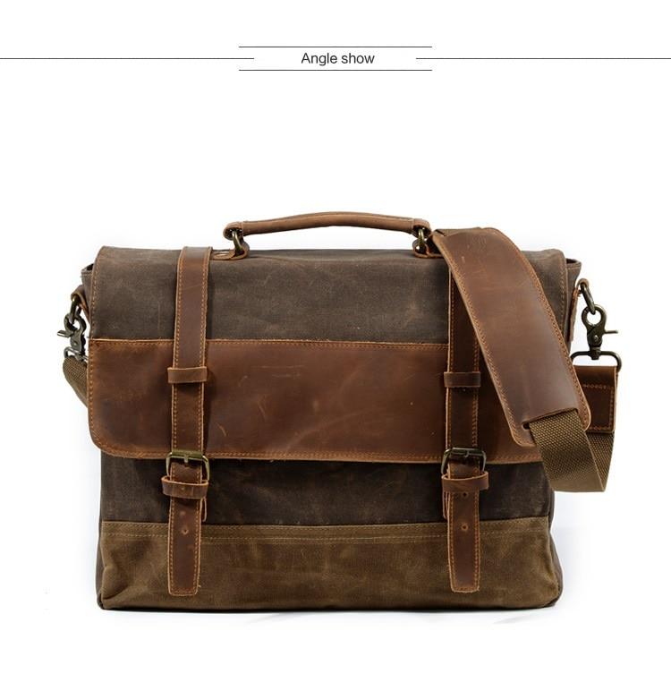 "HTB1ODTJSwHqK1RjSZFPq6AwapXaB M275 Mens Messenger Bag Waterproof Canvas Leather Men Vintage Handbags Large Satchel Shoulder Bags 14"" Computer Laptop Briefcase"