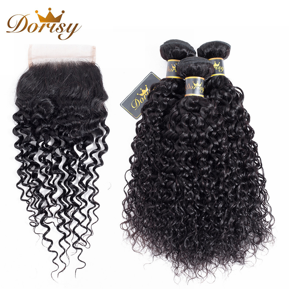 Dorisy Hair Pre-colored 4 Pcs Indian Kinky Curly 3 Bundles With 4*4 Lace Closure Human Natural Color Non Remy Hair Extensions