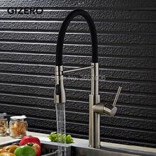 GIZERO Бесплатная доставка Недавно Черный Весна Кухонный Кран Щеткой Кран На Бортике Горячей и Холодной Воды Кран Смеситель GI2071