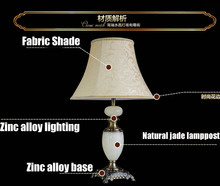 luxury Natural jade zinc alloy base led desk lamp Ceramic Table Lamp Modern Fabric Desk Lamp With Led Bulb light Free Shipping