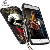KANENG Metal Cartoon Skull Skeleton Aluminum Frame Case For Apple IPhone 6 7 Plus 7Plus 6plus