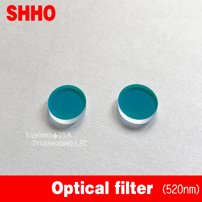 High Quality IR Coated Film Filter Band Pass 520nm Laser Transmissivity>90% Laser Filter Optical Glass Customizable Size