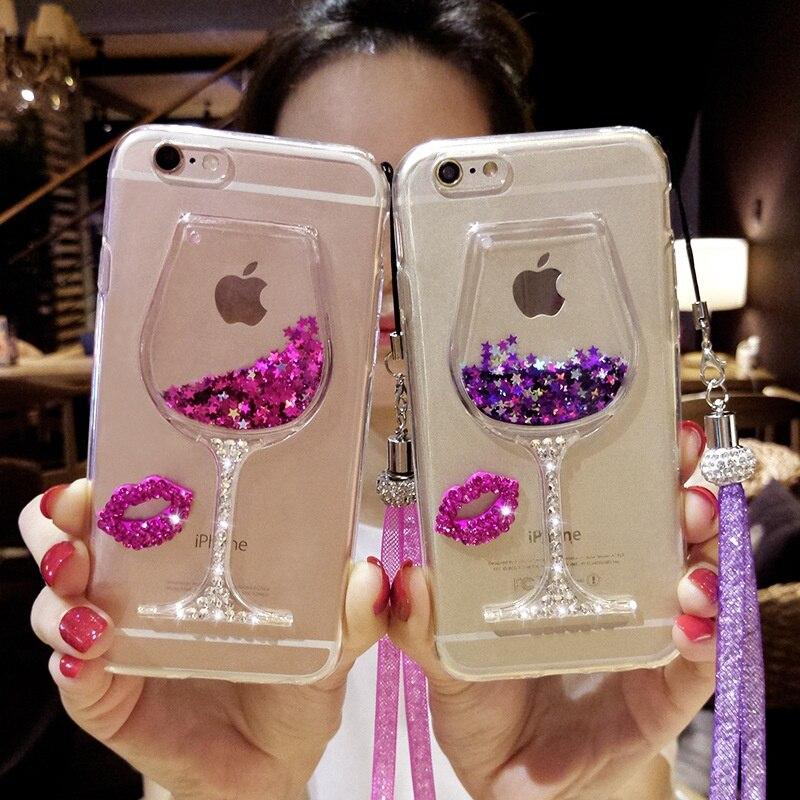 Para o iphone 7 Mais Caso Líquido Areia Movediça Caso de Telefone Que Bling Strass Copo de Vinho Tinto com Pendure Corda Para iPhone 5 5S SE 6 6 S Plus