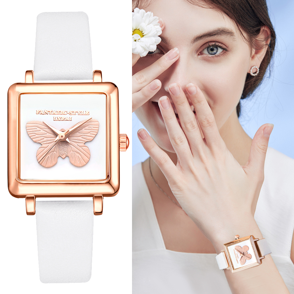 Lvpai Brand 3D Embossed Butterfly Square Women Dress Watches Fashion