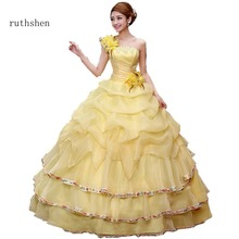 ruthshen Yellow Ball Gown Quinceanera Dresses With Feathers One Shoulder Prom Dress Beads Vestidos De 15 Anos Sweet 16 2018