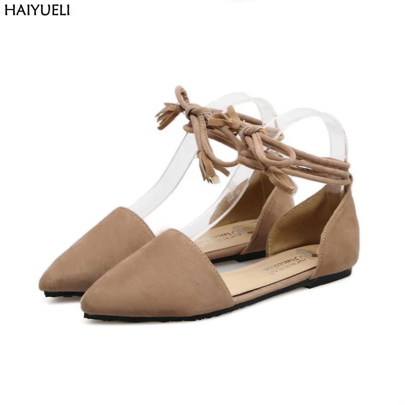 Ladies Flat Shoes Fashion Women Flats Ankle Strap Pointed Toe Flat Shoes Casual  Ladies Loafers Black Shoes Zapatos De Mujer pu pointed toe flats with eyelet strap