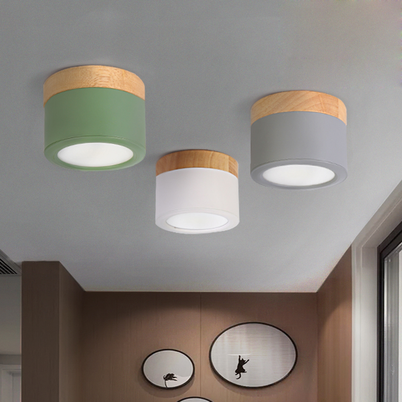 Nordic LED ceiling light with metal lampshade AC85-265V round wooden wall light COB surface mount lightingNordic LED ceiling light with metal lampshade AC85-265V round wooden wall light COB surface mount lighting