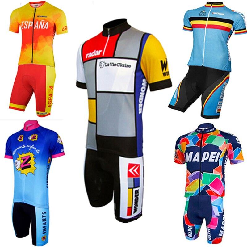 2018 MAPEI espagne belgique costume classique cyclisme Jersey ensemble Shorts personnalisé route montagne course classique max storm 4 poches