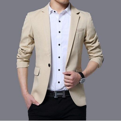 a8e63a51080 Mens Korean Slim Fit Fashion Cotton Blazer Suit Jacket Black Blue Khaki  Beige Male Blazers Mens