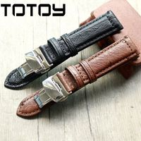 TOTOY handmade ostrich leather strap, black and brown double press folding buckle vintage 18MM 20MM 22MM soft leather strap