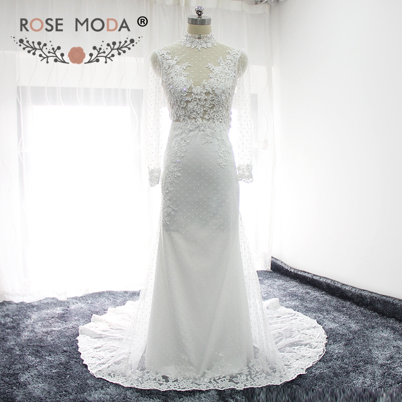 Rose Moda Long Sleeves Mermaid Wedding Dress Boho High Neck Lace Wedding Dresses Cut Out Back Destination Wedding Gown