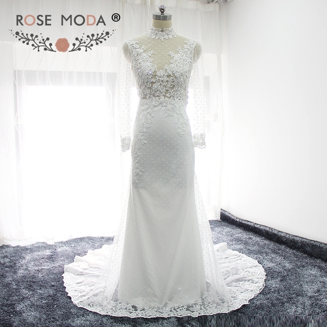 Rose Moda Long Sleeves Mermaid Wedding Dress Boho High Neck Lace ...