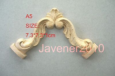 A5-7.3x7.3x1cm Wood Carved Corner Onlay Applique Unpainted Frame Door Decal Working Carpenter Flower