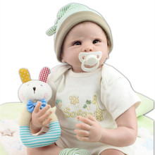 Wholesale 22 Inches Newborn Baby Doll For Baby Boy Dolls Soft Cotton Body Silicone Reborn Babies Lifelike Reborn Baby Doll Toys