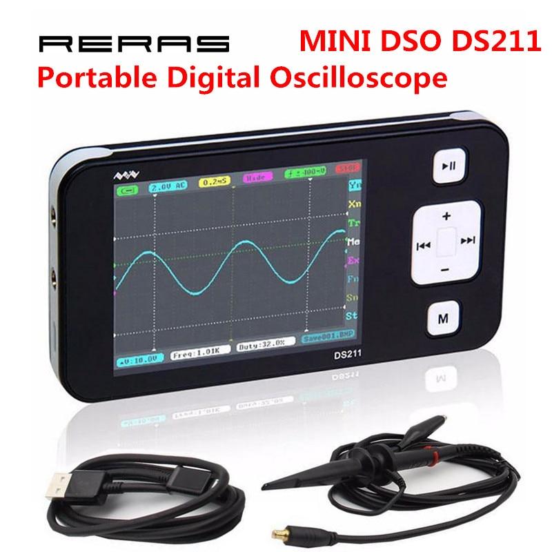 New MINI DS211 ARM Nano Pocket Professional Portable Digital Oscilloscope Digital DSO 211 DS 211 DS0211 DS0 211 with MCX Probe