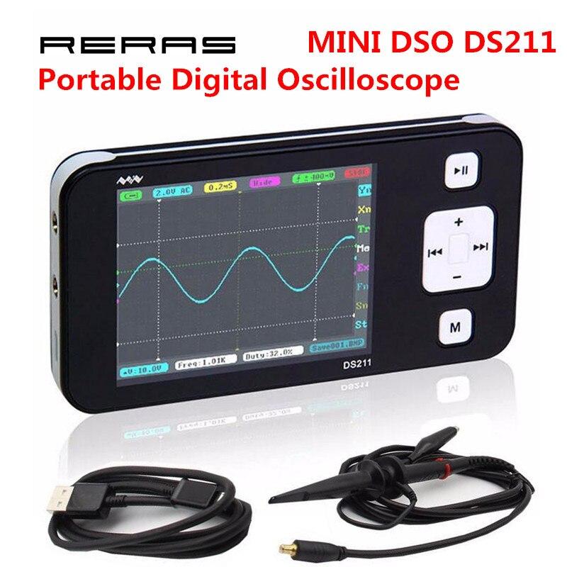Nouveau MINI DS211 BRAS Nano Poche Numérique Portable Professionnel Oscilloscope Numérique L'ASM 211 DS 211 DS0211 DS0 211 avec MCX sonde