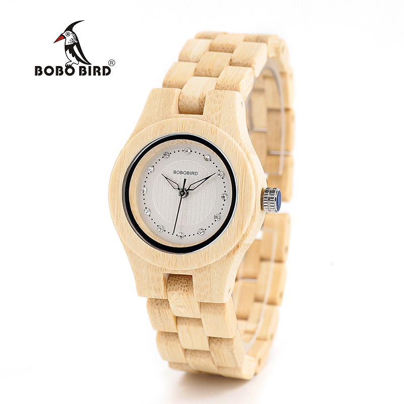 BOBO BIRD V-O10 Ladies Luxury Watches Bamboo Wooden Fashion Unique Women Quartz Watch with Diamond bobo bird v a10 unique vogue womens bamboo wooden watch quartz outdoor sport watches with genuine leather strap montre femme