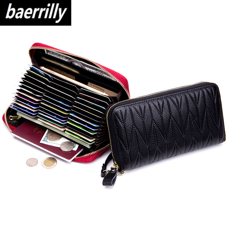RFID Wallet Purse 36-Card-Holder Zipper Female Genuine-Leather Women Travel For