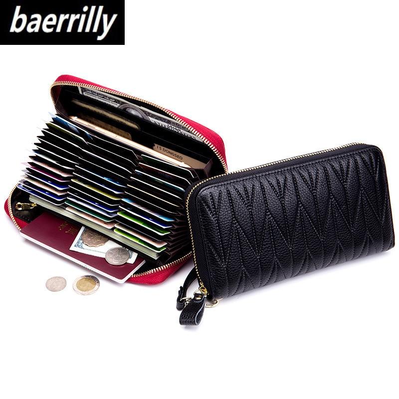 RFID Wallet for Women Genuine Leather Female Travel Purse Zipper Women's Wallet 36 Card Holder мини кошелек жен