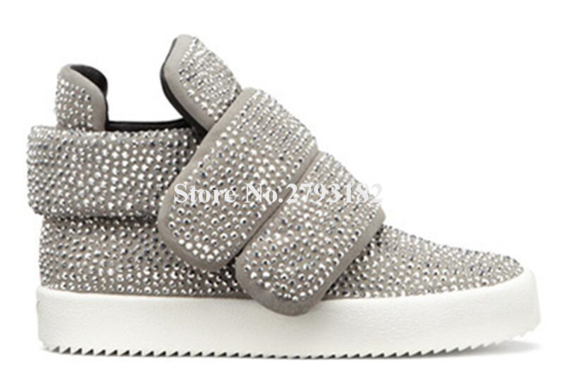 Brand Design Women Winter Fashion Bling Bling Rhinestone Flat Short Boots Hook Black Crystal High-top Sneaker Boots top selling 2016 luxury high quality white bling bling crystal fur inside winter snow boots top designer women mid calf boots