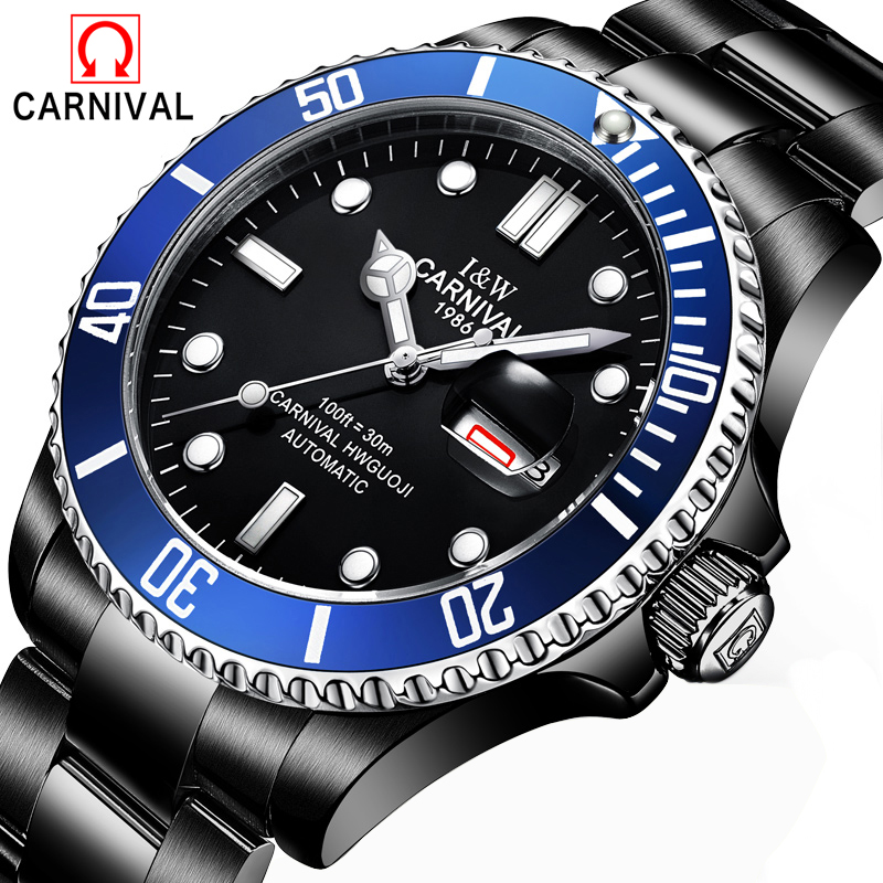 Man CARNIVAL Mens High Quality Tourbillon Automatic mechanical Watches Men Top Brand Luxury Dive 30M Business full steel watch цена