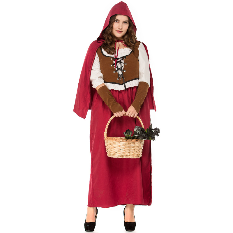Halloween retro Little Red Riding Hood COS suit Woman Big Size Dress