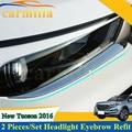 2pcs/set Car Front Lights Sports Mind ABS Chrome Decoration Strip Sticker for Hyundai Tucson 2015 2016 Accessories