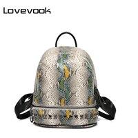 LOVEVOOK Brand Fashion Women Backpack PU Leather Serpentine Rivet School Bag Mini Backpacks Female Backpacks For