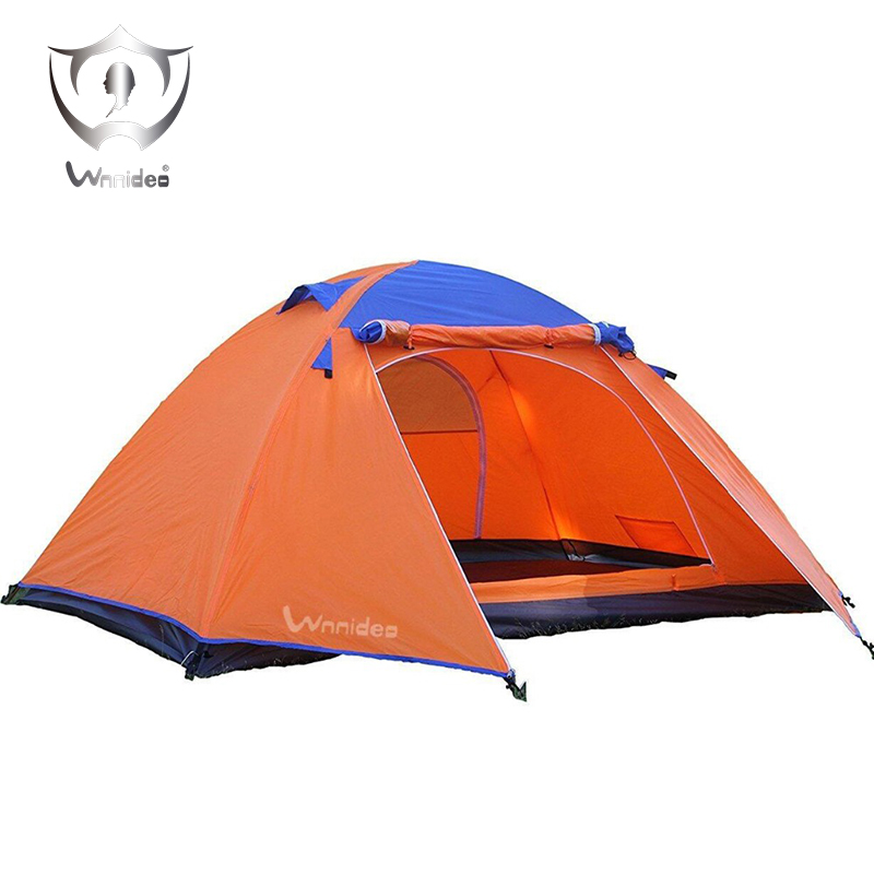 Wnnideo Aluminum Rod Family Camping Tents 3-4 Person Tent Double Layer 4 Season Skylight Outdoor Camping Tent Waterproof Yellow mobi outdoor camping equipment hiking waterproof tents high quality wigwam double layer big camping tent