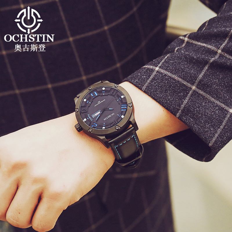 OCHSTIN Luxury Fashion Casual Brand Watch Men Waterproof Sports Leather an Clock Quartz-Watch Orologio Uomo Relogio Masculino