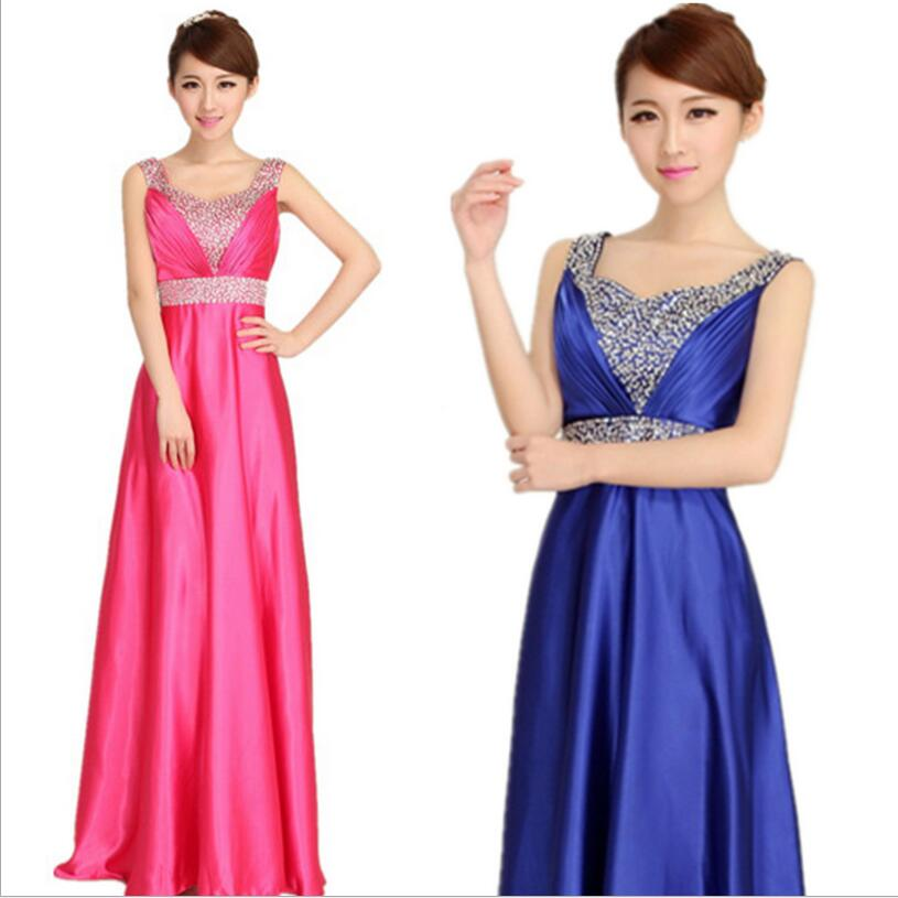 Plus Size Long   Bridesmaid     Dresses   2016 Double Shoulder Beading Silk Wedding Party   Dress   Vestido De Festa De Casamento BV109