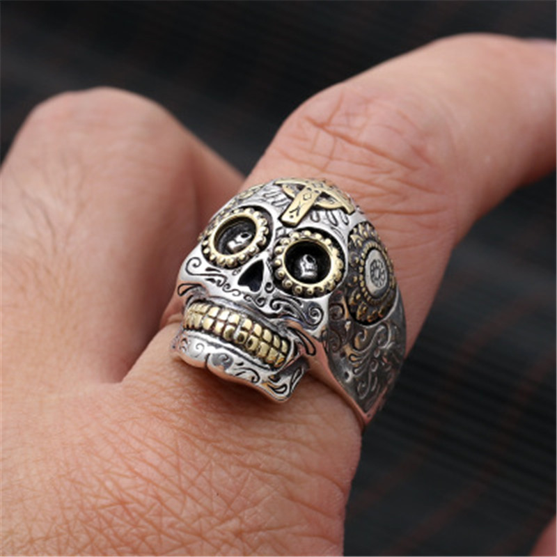 цена на 925 Sterling Silver Biker Sugar Skull Rings For Men Solid Handcrafted Silver 925 Chunky Mens Ring Gothic Wide Band Male Jewelry