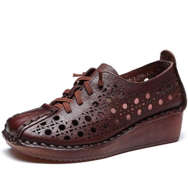 Fait à la main 100% naturel complet en cuir véritable sandales d'été femmes sandales 2019 nouveau à lacets trou chaussures femme sandales chaussures de mode - 2