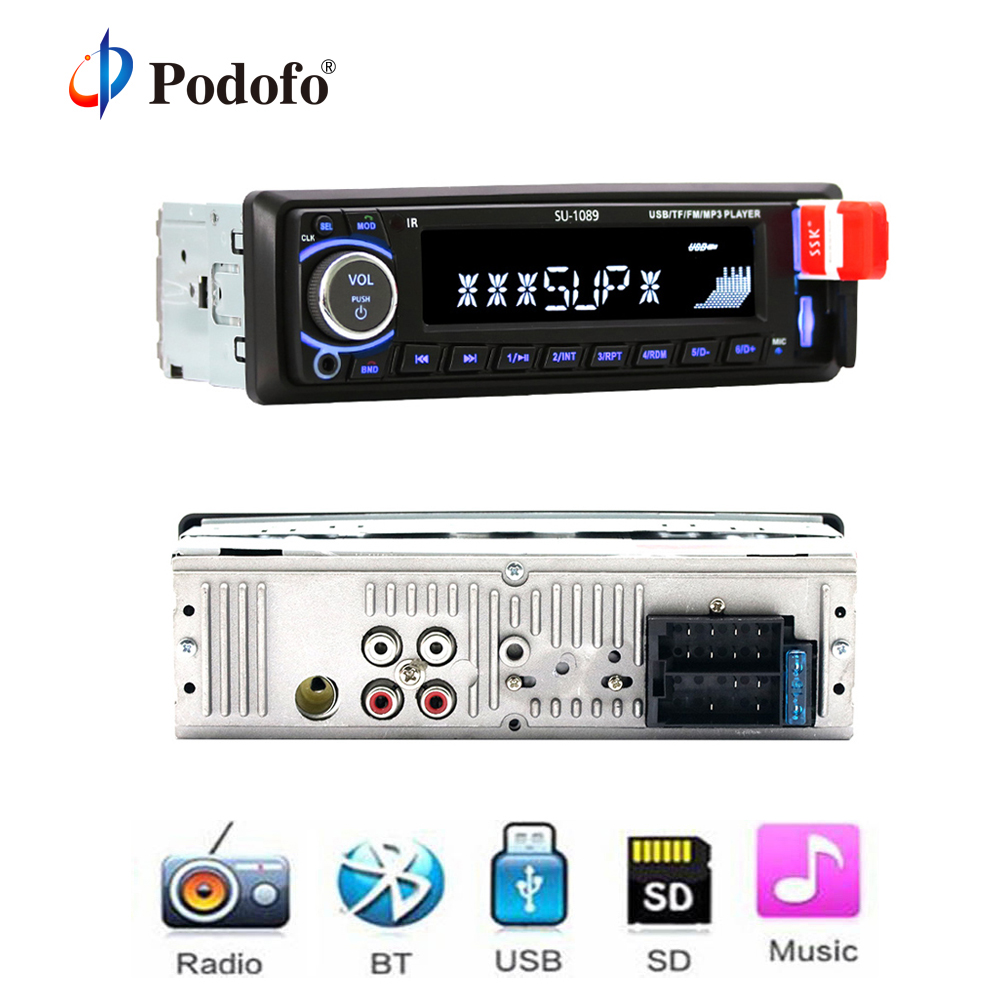 Podofo Bluetooth Car Stereo Radio MP3 Player Support BT/FM/USB/SD Remote Control 12V 1din Autoradio Hands-free Call Time Display bt 760 bluetooth fm transmitter car kit mp3 player support mic call
