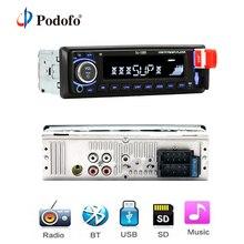 Podofo Bluetooth стерео радио MP3 плеер Поддержка BT/FM/USB/SD Дистанционное Управление 12 В 1din авторадио Hands-free время вызова Дисплей