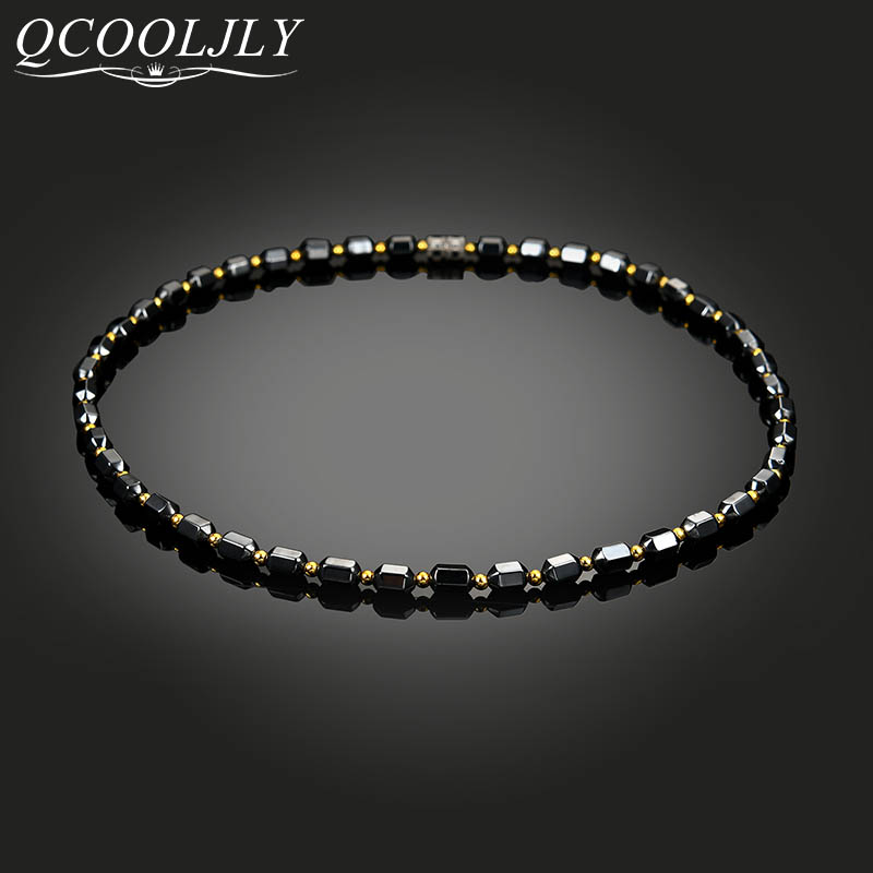 QCOOLJLY Men Women Necklace Hematite Magnet Golden Beads Magnetic Therapy Care Neck Black Natural Stone Ethnic Necklaces Jewelry